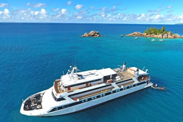 Drone shot of the M/Y Pegasus in the Seychelles