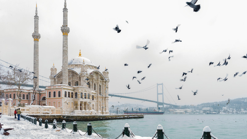 Ortakoy Mosque in winter.
