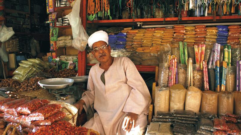 A vendor in the Aswan markets, Egypt