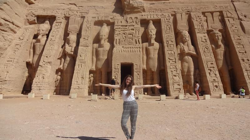 A woman posing at Abu Simbel