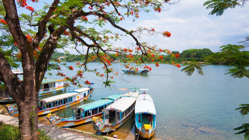 A boat station on the Perfume River in Hue