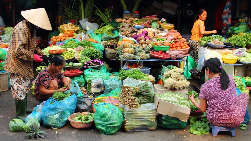 Fresh produce stalls at Dong Ba Market, Hue