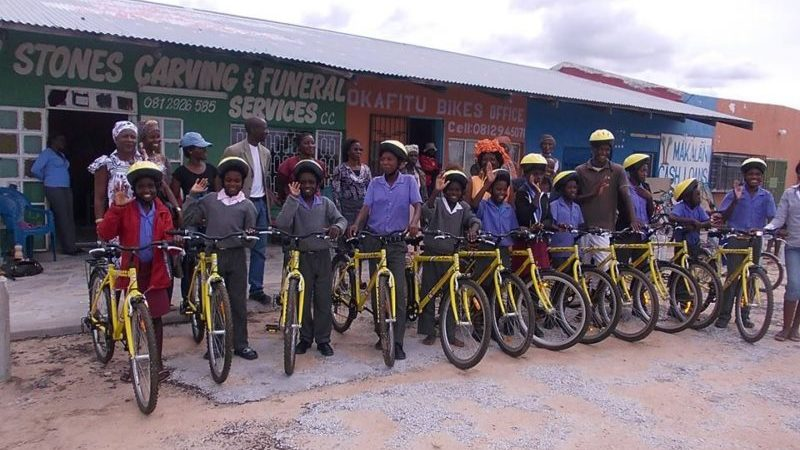 A group of people with their new bikes