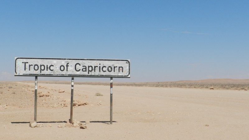A sign in the desert