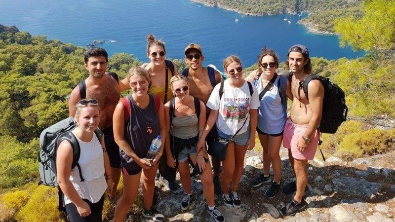Group of happy travellers in Turkey