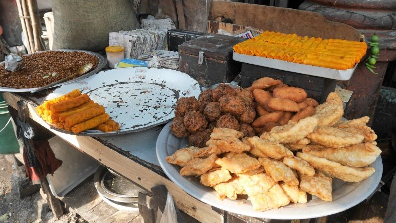 An array of fried food in Vietnam