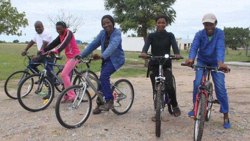 A group of Namibians on their new bicycles