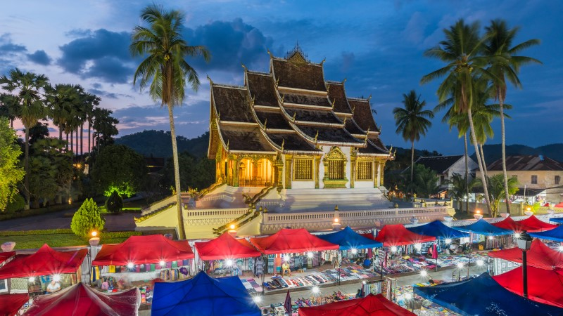Views over the Night Market in Luang Prabang