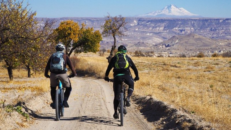 Two cyclists in Cappadochia, Turkey