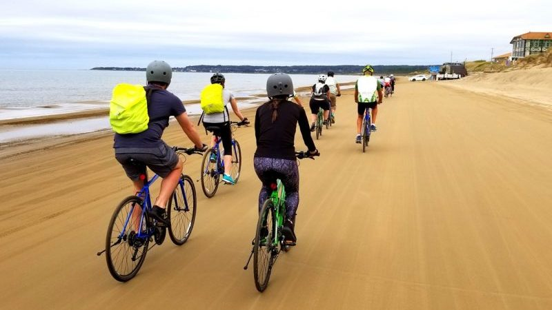 Cycling along the beach in Japan