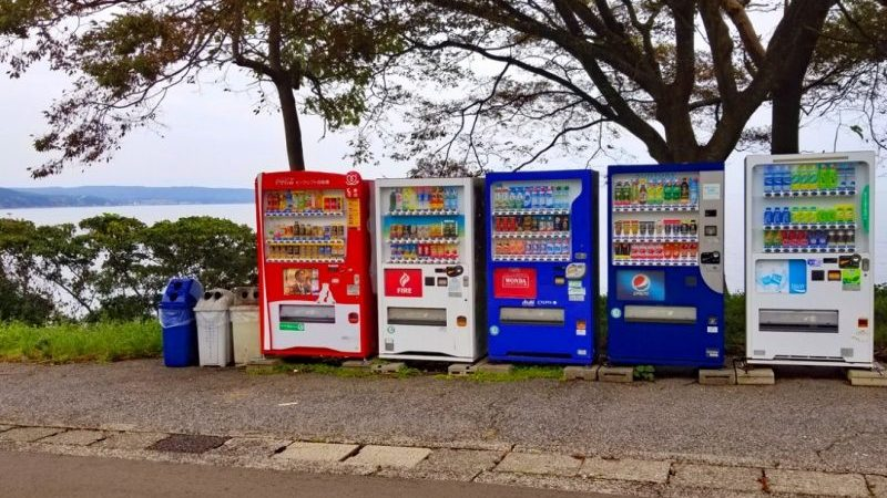 A row of vending machines in Japan