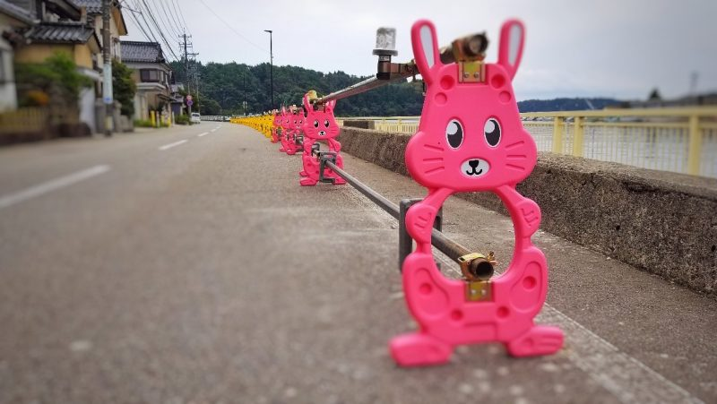 Rabbit-shaped road signs in Japan
