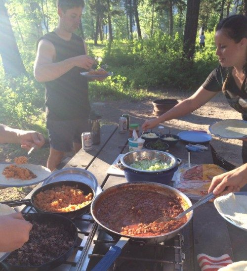 Cooking dinner in the Canadian Rockies