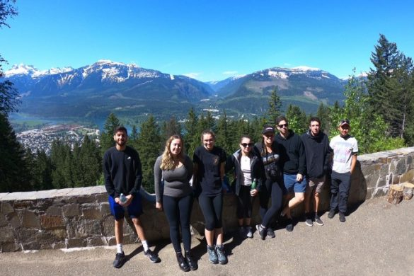 A group of travellers in the Canadian Rockies