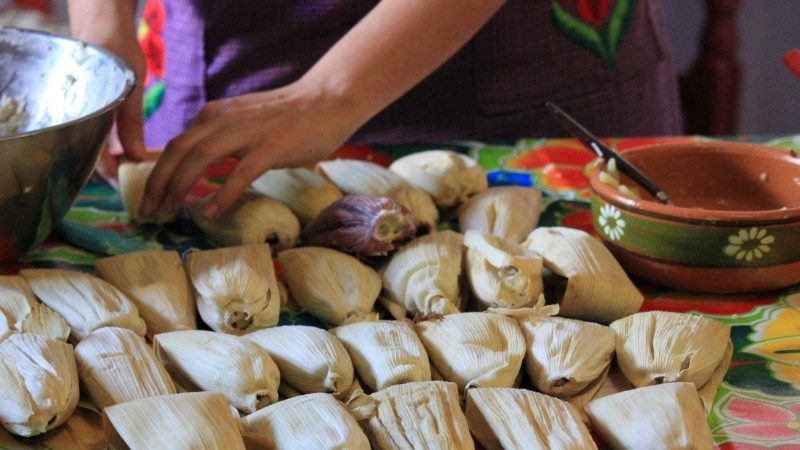 A pile of tamales in Mexico