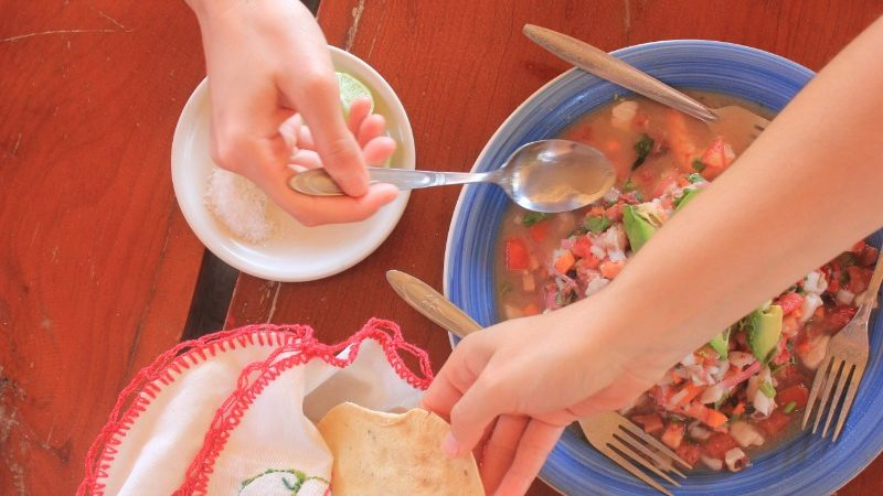 Birds-eye view of ceviche on a table