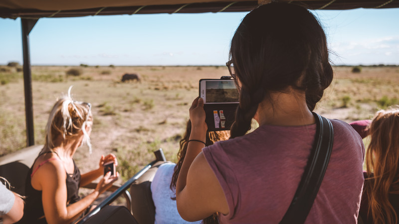 Girl taking photo of animals in Botswana