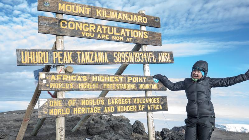 A hiker on Mt Kilimanjaro