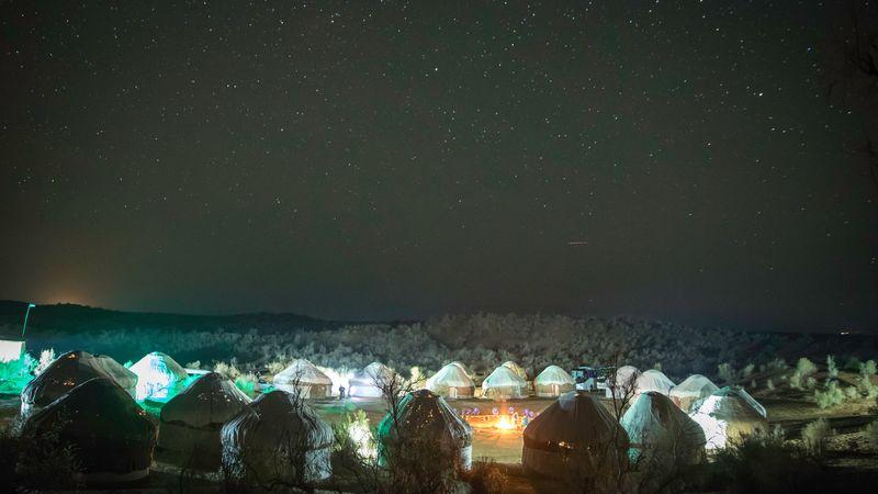 Yurt camp at night
