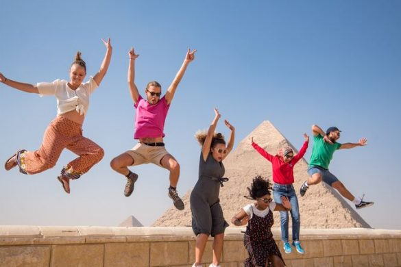 Young travellers jumping in Egypt