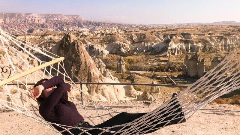 A woman in a hammock in Cappadocia