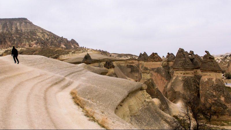 A person walking through Monk Valley, Cappadocia