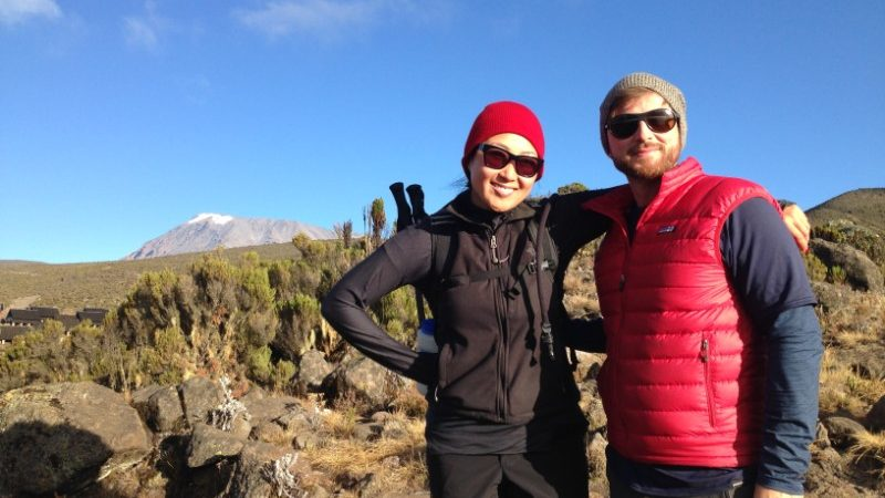 Two trekkers on Mt Kilimanjaro