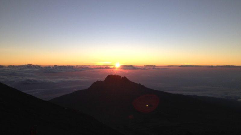 The sun rising in Tanzania