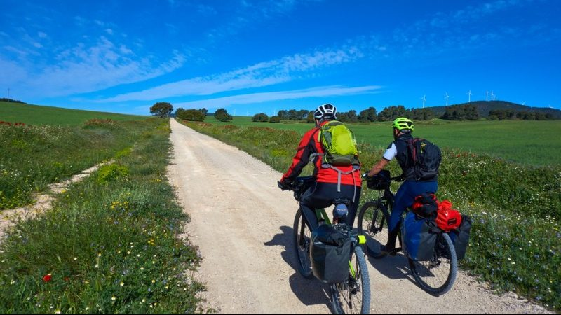 Two cyclists on the Camino in Spain