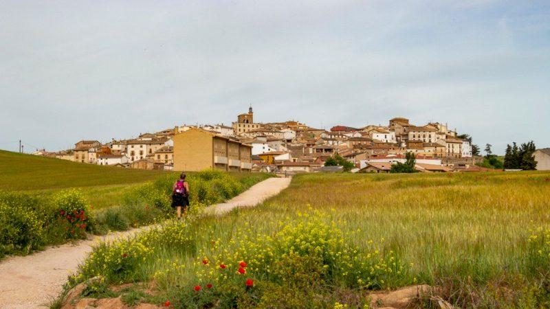 Hiker walking along the Camino, Spain