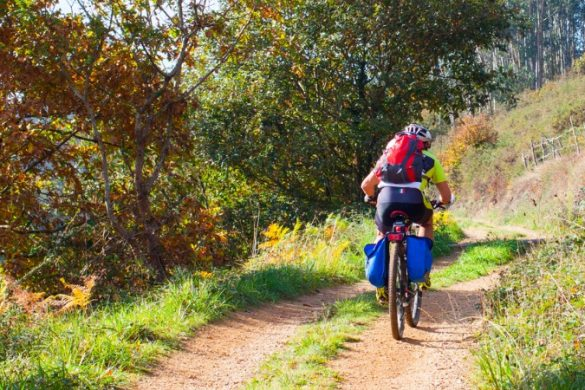 Cyclist on the Camino Trail, Spain