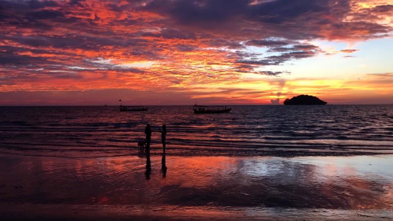 Sunset over Otres Beach in Cambodia