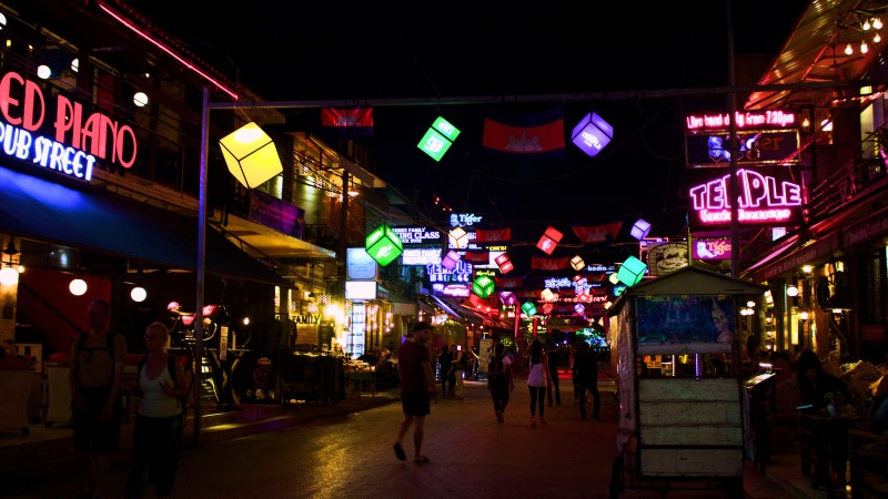Pubs Street in Siem Reap, Cambodia