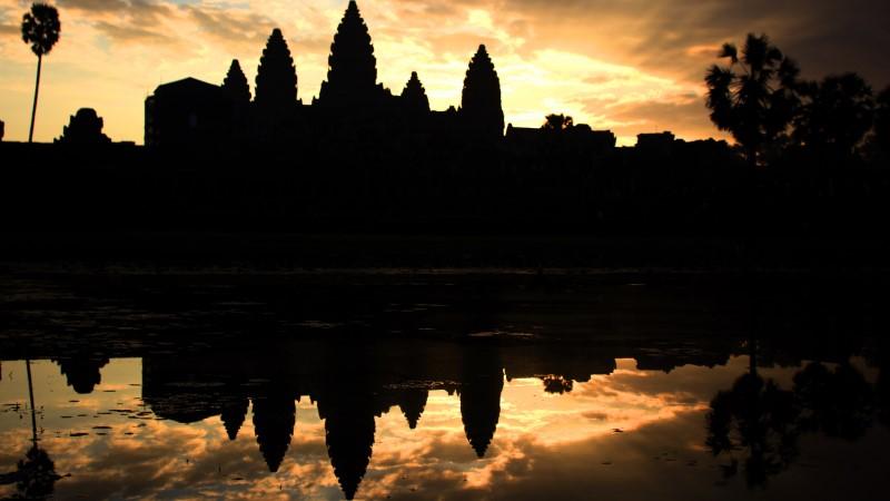 Angkor Wat at sunrise in Cambodia