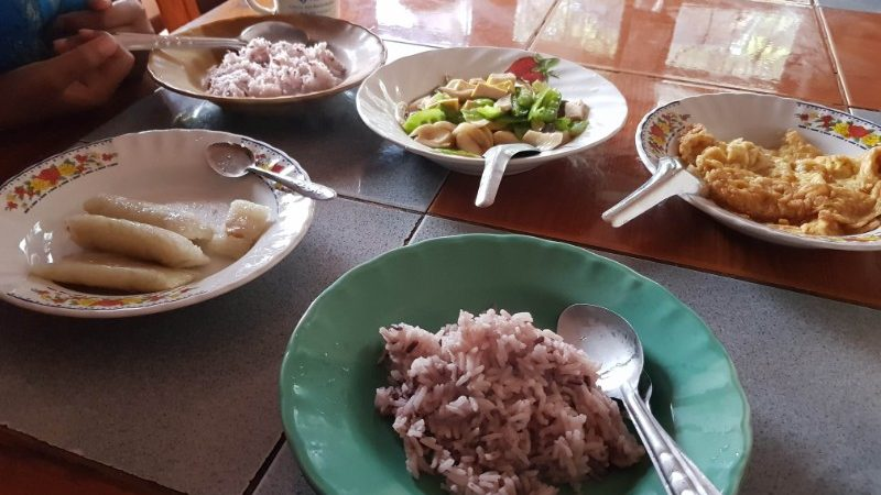 Plates of food at a Thai homestay