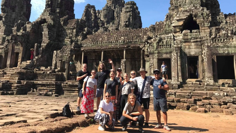Caroline's 18 to 29s group at Angkor Thom in Cambodia