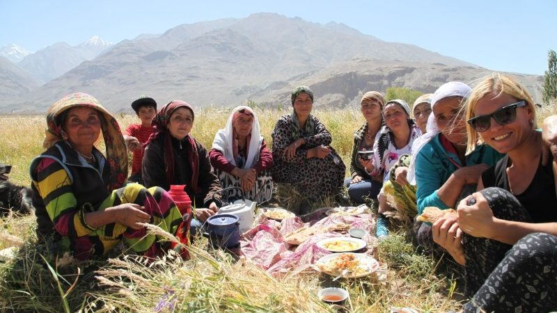 A group of women having a picnic in Tajikistan