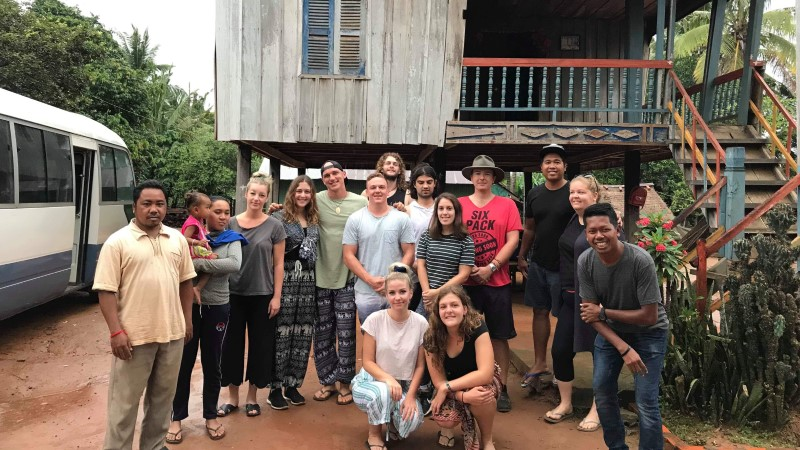 Caroline's group at their homestay in Chambok, Cambodia