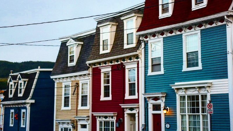 Colourful houses in Newfoundland, Canada
