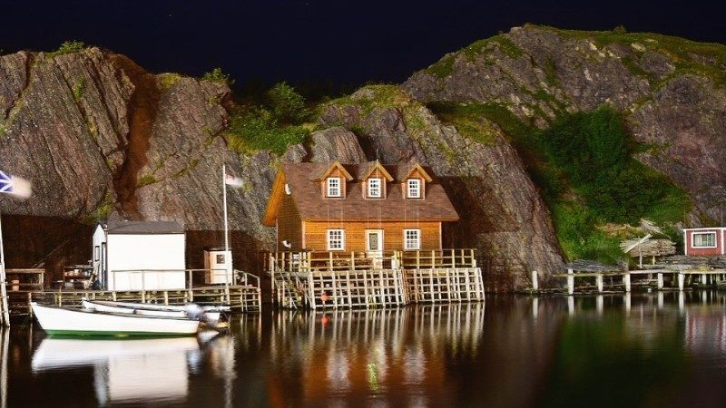 Fishing village in Newfoundland at night