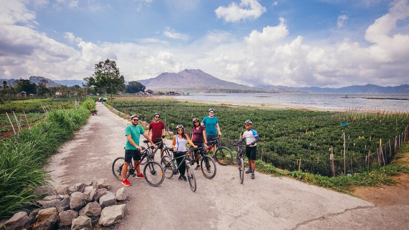 Cycling in Kintamani, Bali.