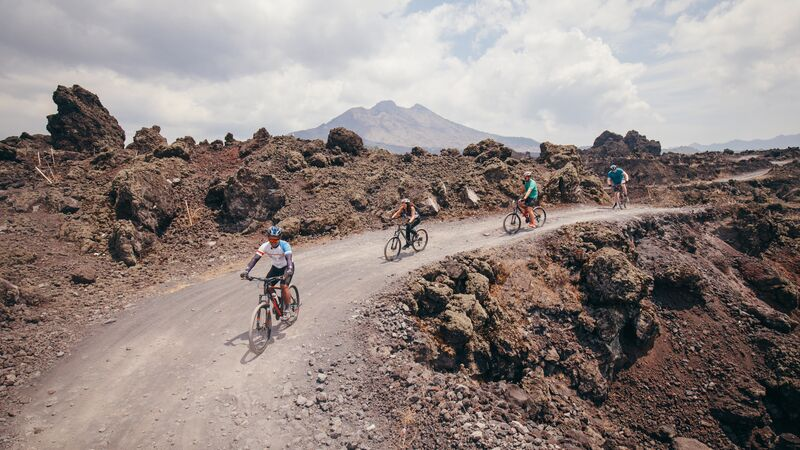 Cycling around Mt Batur.