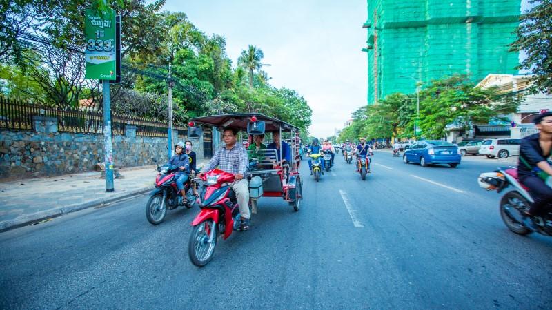 Busy streets of Phnom Penh, Cambodia