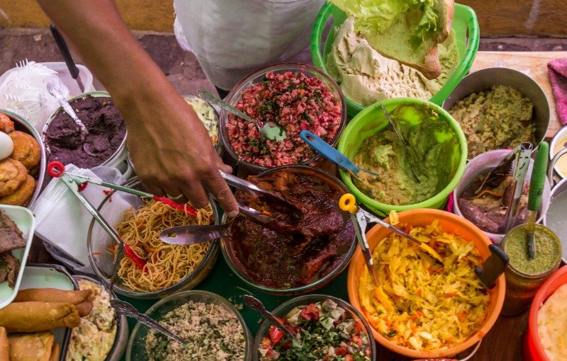 Bowls of food in Guatemala