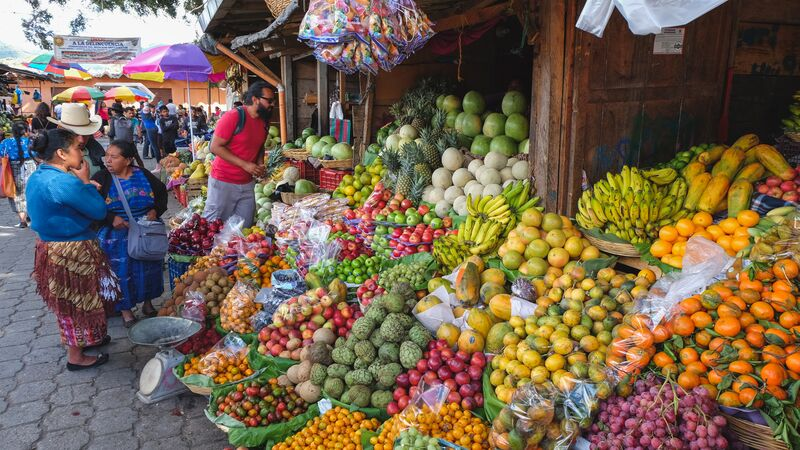 Colourful fruits and vegetables at a market