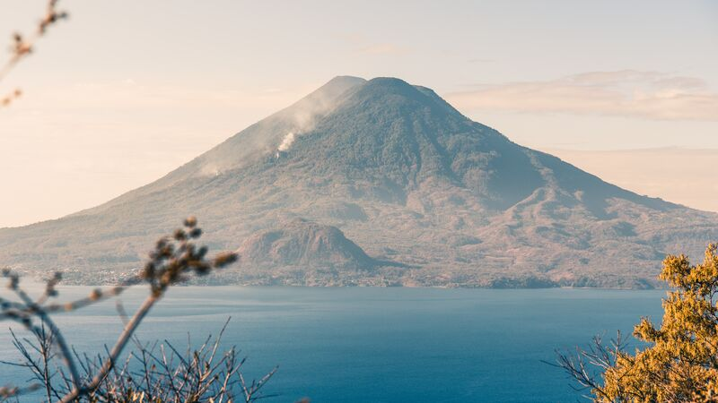 Volcano and lake in Guatemala