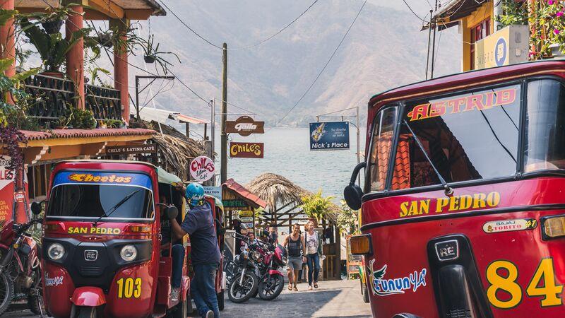 Two tuk tuks at Lake Atitlan