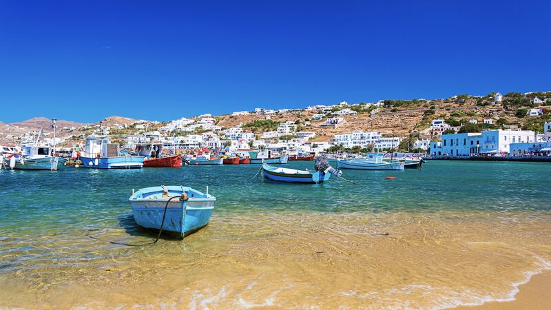 Boats in the harbour at Mykonos, Greece