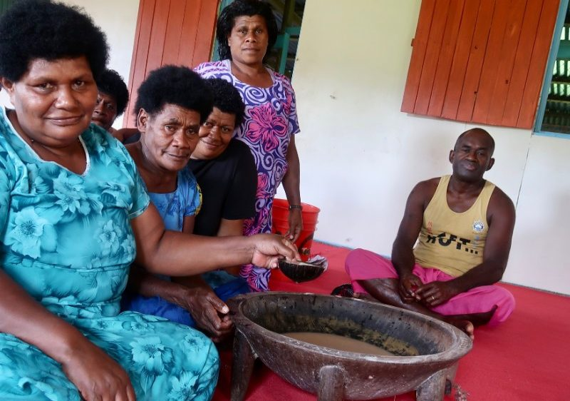 A group of Fijians at a kava ceremony