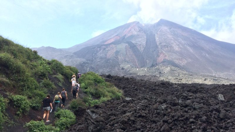 Hiking to a volcano in Guatemala